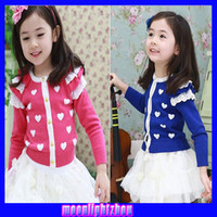 Wholesale Girls cardigan girls love heart shaped pattern Ribbed round neck long sleeved cardigan jacket X