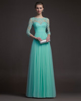 Wholesale elegant lace with sleeve modest Evening dresses Prom dresses with full length aire03
