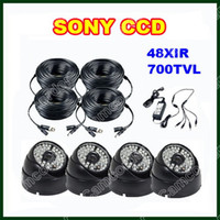 Wholesale 4pcs SONY CCD IR LED Effio TVL OSD Menu Outdoor Weatherproof ft V DC Power Cable For DVR Kit