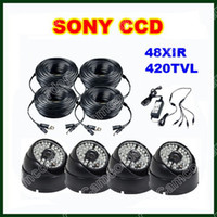 CCD 12v surveillance camera - 4pcs SONY CCD CCTV TVL IR LED Security Surveillance Camera Outdoor Waterproof ft V DC Power Cable