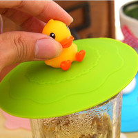 Wholesale Dia cm Lovely Little Yellow Duck Silicone Mug Cover Disposable Cup Cover Lids Bar Drinkware SH086