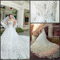 Wholesale 2014 Bling Bling Cathedral Train Free Veil Sweetheart Appliques Rhinestones A Line Wedding Dresses Gowns Sequins Bridal Bride DressesGowns