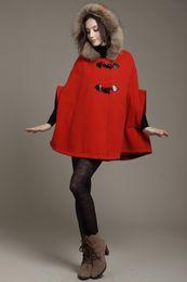Wholesale Cardigan Style Wool Coats - Fur Hooded Winter Cloak Princess korean Style Women Poncho Coat Ladies Cape Outerwear cloak mantle cloke 4 colors S,M ,L ,XL ws08