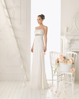 Wholesale Custom made sexy Sheath Column chiffon with beaded Wedding Dresses bridal gowns sweep length aire02