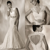 Elegant 2013 Sheer Vintage Mermaid Wedding Dresses With Sash...