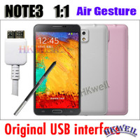 5.7 Android 1G Note3 N9000 Air Gesture MTK6589T Quad Core 1.5GHZ Android4.3 1G RAM 8G ROM Cell Phone With 5.7Inch FHD Screen Leather back cover Phone WEIL