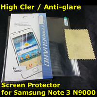 For Samsung Front  LCD Screen Protector for Samsung Galaxy Note 3 N9000 Note3 High Clear Matte Anti-glare Film Cover Guard Protection DHL Fedex Free Shipping