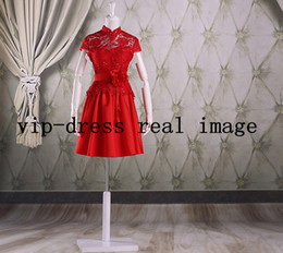 Wholesale On Sale Fashional Red Lace High Neck Short Cap Sleeve Handmade Flower Chinese Dresses Cheongsam LTG