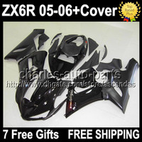 Wholesale 7gifts Tank Cover ALL black Fairing Kit For KAWASAKI NINJA ZX R Q9161 ZX636 ZX6R ZX R flat glossy black Bodywork