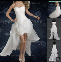 low price dresses - Cheap Price Ball Gowns Prom Party Asymmetrical Long Slim Strapless Dress Wedding dresses High low Bridesmaids BO0981