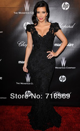 Wholesale Hot Kim Kardashian Black lace mermaid shealth celebrity evening dress