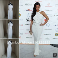 Chiffon Sleeveless Zipper Kim Kardashian engagement dress high collar ivory chiffon evening dress celebrity Real 2013 New arrival for sale