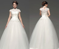 Wholesale Particular Tang Suit Style Chinese Collar Hollow Ball Gown Short Sleeve Tulle Wedding Dresses Floor Length White Custom Made Vintage Za02