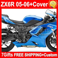 Wholesale 7gifts Tank Cover For ALL Gloss blue KAWASAKI NINJA ZX R Free Customized Q939 ZX636 ZX R hot blue ZX6R Fairings