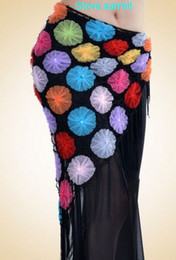Wholesale 3101004 Novelty Colorful or Black Flowers Women Belly Dance Hip Scarf Costume Women Stagewear