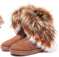 Wholesale WINTER SHOES WOMEN FASHION LEATHER SNOW BOOTS IMITATION FOX FUR BLACK BROWN NAVY BLUE