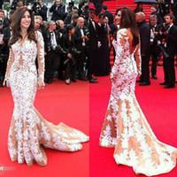 С длинным рукавом знаменитости Вечерние платья, вдохновленные Najwa Karam в 2013 году в Каннах с белым аппликации на ню тюль купить 1 получить бесплатные ожерелье