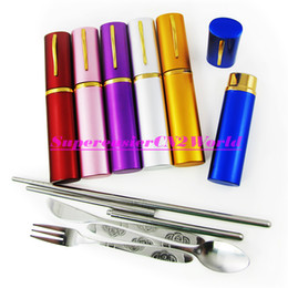 Wholesale 10pcs Portable in1 Cutlery Set Stainless Steel Spoon Fork Knife Folding Chopsticks in Pen Holder Travel Flatware Kit Order Color Mixed