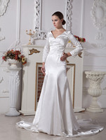 Wholesale Ivory Elastic Woven Satin V neck Sheath Twilight Bella Swan Style Wedding Dress asymmetrical r69 u11 zQa