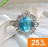 Cheap Acrylic Stone / Silver-tone Metal Rings napkin ring Best aqua blue Approximately 2