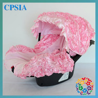 Wholesale sets New Design D Pink Rosette Flower Car Seat Protector Infant Car Seat Cover Designer Car Seat Cover For Children