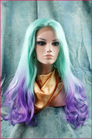 Wholesale synthetic lace front wigs quot ombre green purple body wave as the picture show heat friendly party wigs in stock