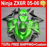 achat en gros de vert zx636-7gifts + 100% NOUVEAU Pour les flammes noires KAWASAKI NINJA ZX6R ZX-6R ZX 6R 636 # 9137 ZX636 2005 2006 05 06 Free Custom Green Green Fairing Kit