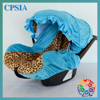 Wholesale Leopard cotton with turquoise velvet lining infant car seat canopy cover fit most seat many colors to choose set