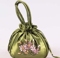 Favor Bags colorful handbags - Wedding Favor Holders handmade Ribbon embroidery candy bags gift jewelry egg Satin silk bag bride handbag colorful Christmas gift