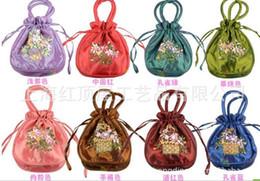 Wedding Favor Holders handmade Ribbon embroidery candy bags gift jewelry egg Satin silk bag bride handbag colorful