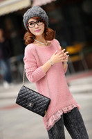 Wholesale Women s Long Sleeve Lace sweater Round Neck Knit Sweater Tops Hem Mini Keep Warm Dresses sweater Fall Winter colors WS21