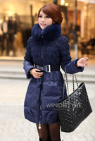 Wholesale Occident Fashion Women Down Coats Thickening Slim long Down Coats Lovely Princess Style With Fox fur Collar Women Outwear Coats