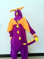 Wholesale Purple Dinosaur Kigurumi Pajamas Anime Cosplay Costume unisex Adult Onesie Dress