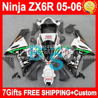 al por mayor zx636 6r playboy-7gifts + 100% NUEVO PLAYBOY Para KAWASAKI NINJA ZX6R ZX 6R 636 05-06 # 929 ZX636 ZX-6R 05 06 2005 2006 verde negro blanco Aficionado personalizado libre