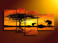 Wholesale 4 Piece Wall Art African Abstract Orange Elephants Oil Painting On Canvas Paint Decorative Interior Paneling Pure hand painteds picture