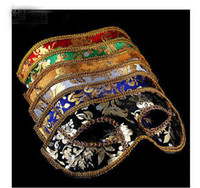 Wholesale 2013 new Half Face Mask Halloween Masquerade mask male Venice Italy flathead lace bright cloth masks