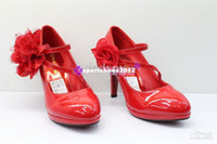 Wholesale shoes high heeled shoes large flowers big bride wedding shoes red patent leather shoes GGX123