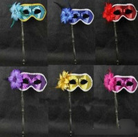 Wholesale Similar Feather Masquerade Mask On A Stick Wedding Party Mask Black Blue more Color option
