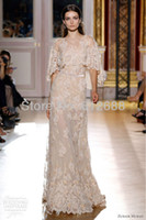 Lace Half Sleeve Floor-Length SF-615 Custom Free Shipping Off Shoulder Lace Champagne Zuhair Murad Evening Dresses