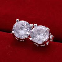 Wholesale 925 sterling silver around zircon diamond crysal stud earings e096 fashion gift boxes
