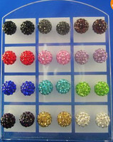 Wholesale 2013 New Popular pairs Silver Stud mm Shamballa Disco Ball Crystal Bead Stud Earrings