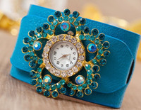 Wholesale 10pcs new fashion URBAN BOHEMIAN Leather set auger decoration watches Flower shape belt type bracelet watches
