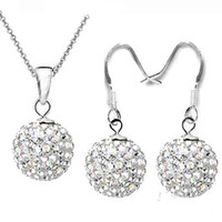 Wholesale 2013 Hot Sale sets Silver Blue mm Disco Ball Crystal Beads Dangle Necklace Earrings Jewelry Set