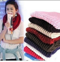 Wholesale 9 Colors Fashion Lovely Women Ladies Girls Mam Warm Knit Neck Circle Wool Blend Cowl Snood Scarf Shawl Wrap by DHL