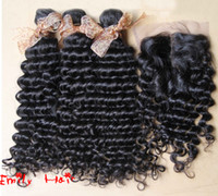 Wholesale Beauty Queen Hair Products Brazilian Virgin Curly Deep Wave Hair Closure With Hair Bundles Best Match Cheap For