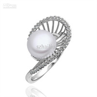 Cluster Rings   Wholesale - Platinum Plated Ring high quality pearl & CZ Ring free shipping fashion jewelry PLR011