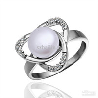 Solitaire Ring   Wholesale - Platinum Plated Ring high quality pearl & CZ Ring free shipping fashion jewelry PLR004