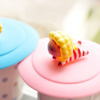 Wholesale Dia cm Lovely Little Lion Top Cup Cover Lids Adsorption Silicone Coffee Mug Cover SH088