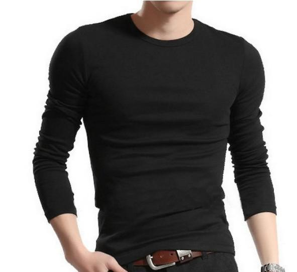 New Fashion Men Casual Slim Fit T-shirts Men's Long Sleeve Round T ...
