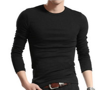 Wholesale New fashion Men Casual Slim Fit t shirts men s long Sleeve round t shirt mens Elastic tops tees Solid color basic t shirt
